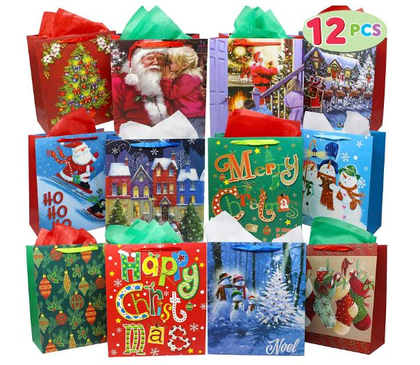 12 Christmas Painting Style Gift Bags Bulk with Handles and Name Tags Assorted Designs