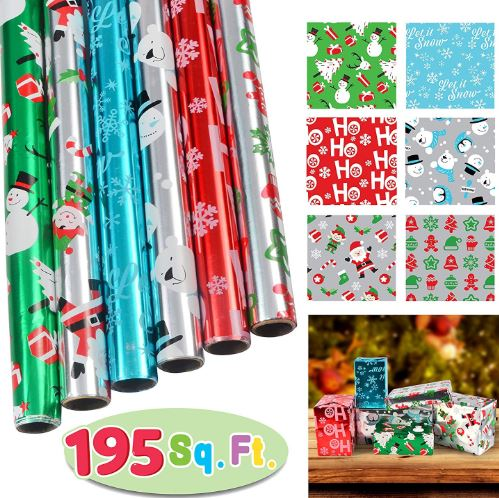 "6 Rolls Foil Wrapping Paper Set (30"" X 156"")"