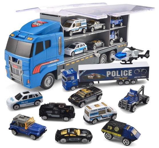 10 in 1 Die-cast Police Patrol Rescue Truck Mini Police Vehicles Truck Toy Set in Carrier Truck