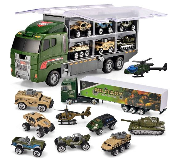 10 in 1 Die-cast Military Truck Army Vehicle Mini Battle Car Toy Set in Carrier Truck