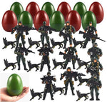 12 Pack Jumbo Easter Eggs with Prefilled Poseable Soldier Action Figures, Easter Basket Stuffers, Army Themed