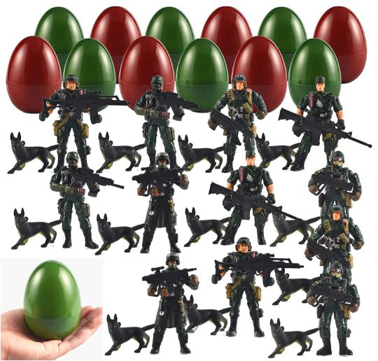 12 Pack Jumbo Easter Eggs with Pre-filled Army Soldier Figures