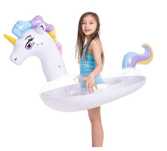 Inflatable Unicorn Pool Float with Glitters