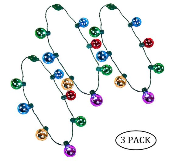 Christmas LED Disco Necklace, 3 Pack