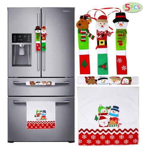 Christmas Kitchen Appliance Handle Covers, 5 Pcs