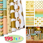"6 Rolls Gold Print Wrapping Paper (30"" X 156"")"