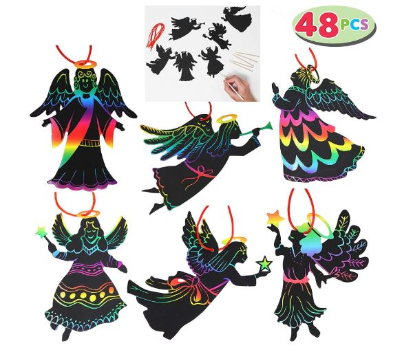 "Rainbow Color Scratch Angel Ornaments (5""x 5"", 48 Count) Christmas Craft Kit Toys for Kids"