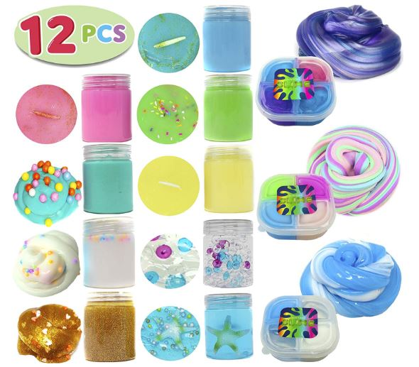 12 PCs Ultimate Silly Fluffy Slime Putty Kit Supplies ALL IN ONE