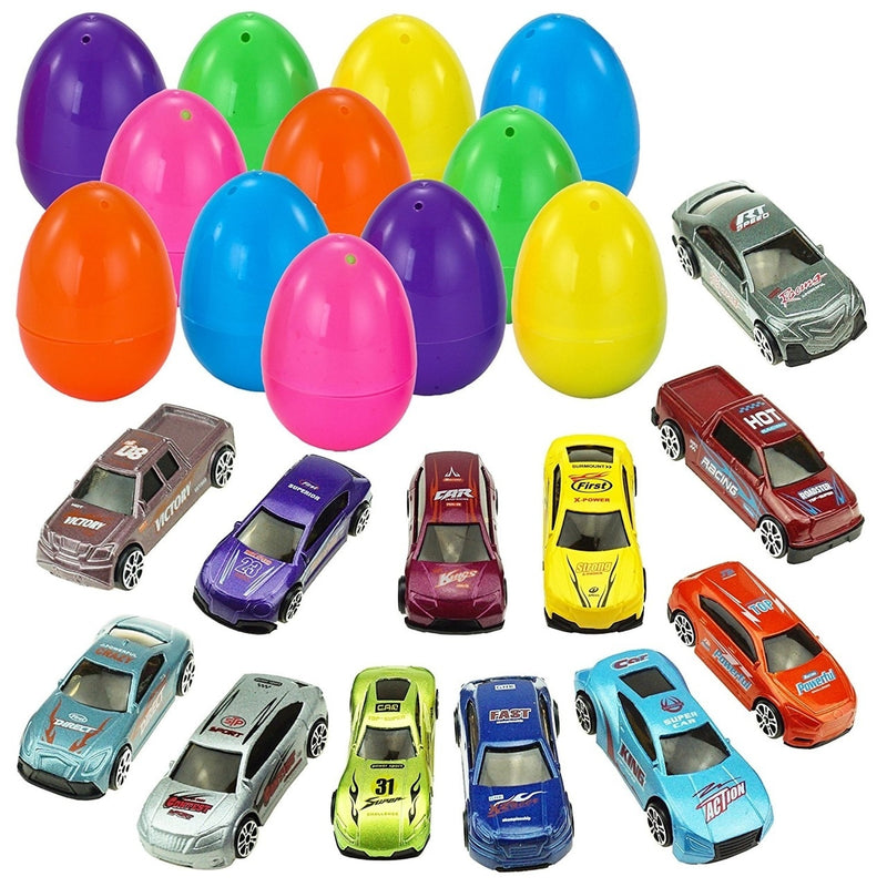 Easter Eggs Pre-Filled with Die-Cast Cars, 12-Pack