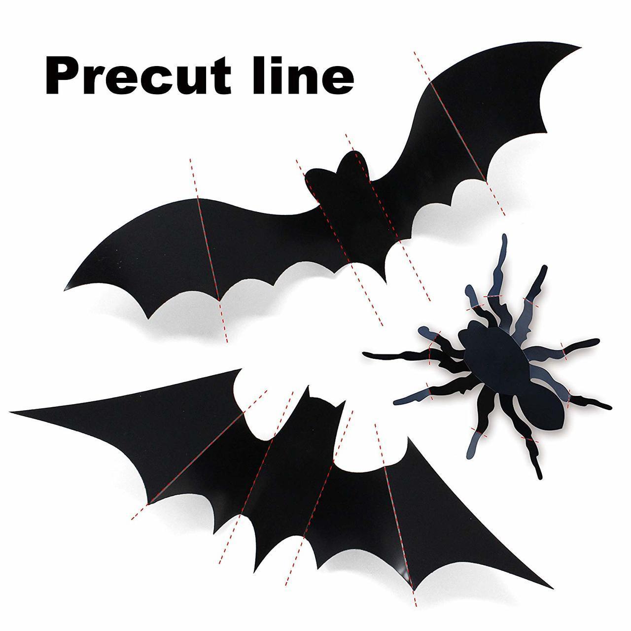 Halloween 3D Wall Bat and Wall Spider Stickers