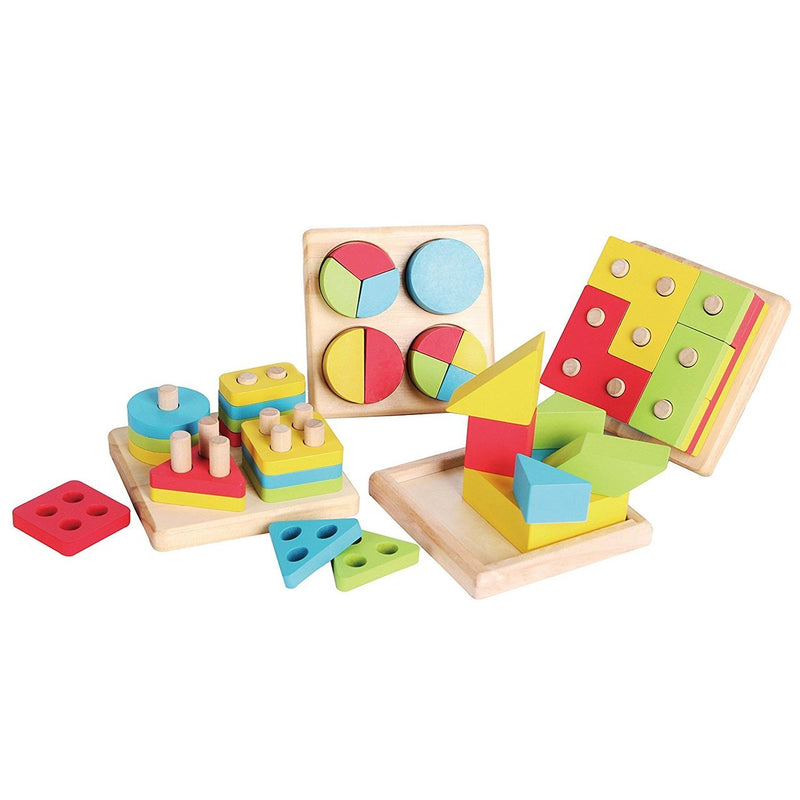 4-in-1 Wooden Educational Shape and Color Sorter