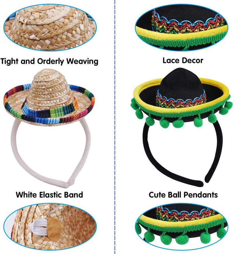 6 PIECE CINCO DE MAYO FIESTA FABRIC AND STRAW SOMBRERO HEADBANDS