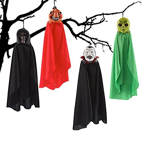 "Hanging Ghost (16"") Halloween Decorations with Different Designs, 4-Pack"