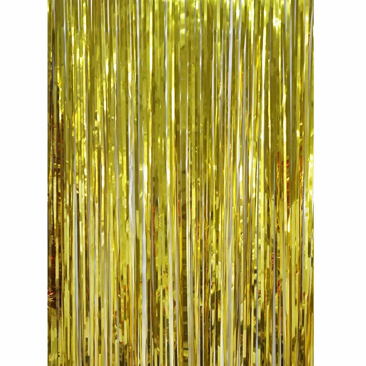 Metallic Foil Fringe Shiny Gold Curtain with Two Bonus Fringe Garlands for Parties and Event Decorations Photo Booth Decorations
