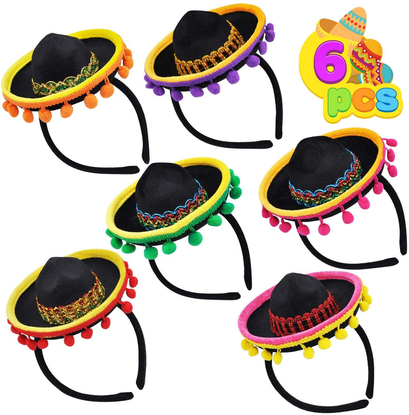 6 PIECE CINCO DE MAYO SOMBRERO HEADBANDS
