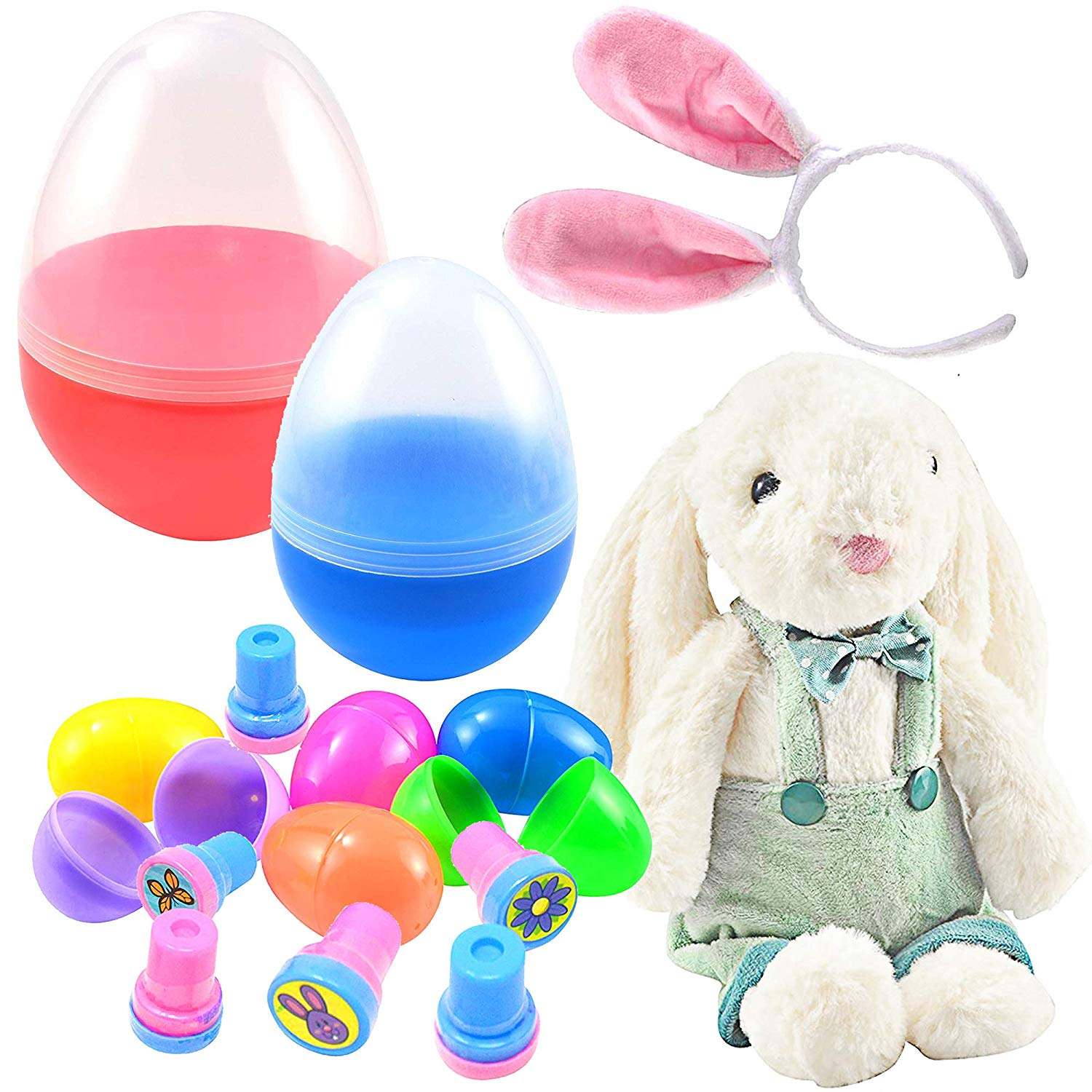 Jumbo Easter Egg Prefilled with Plush Easter Bunny and Ear Headband