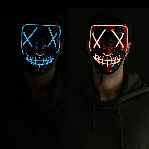 2 Piece LED Cosplay Scary Mask