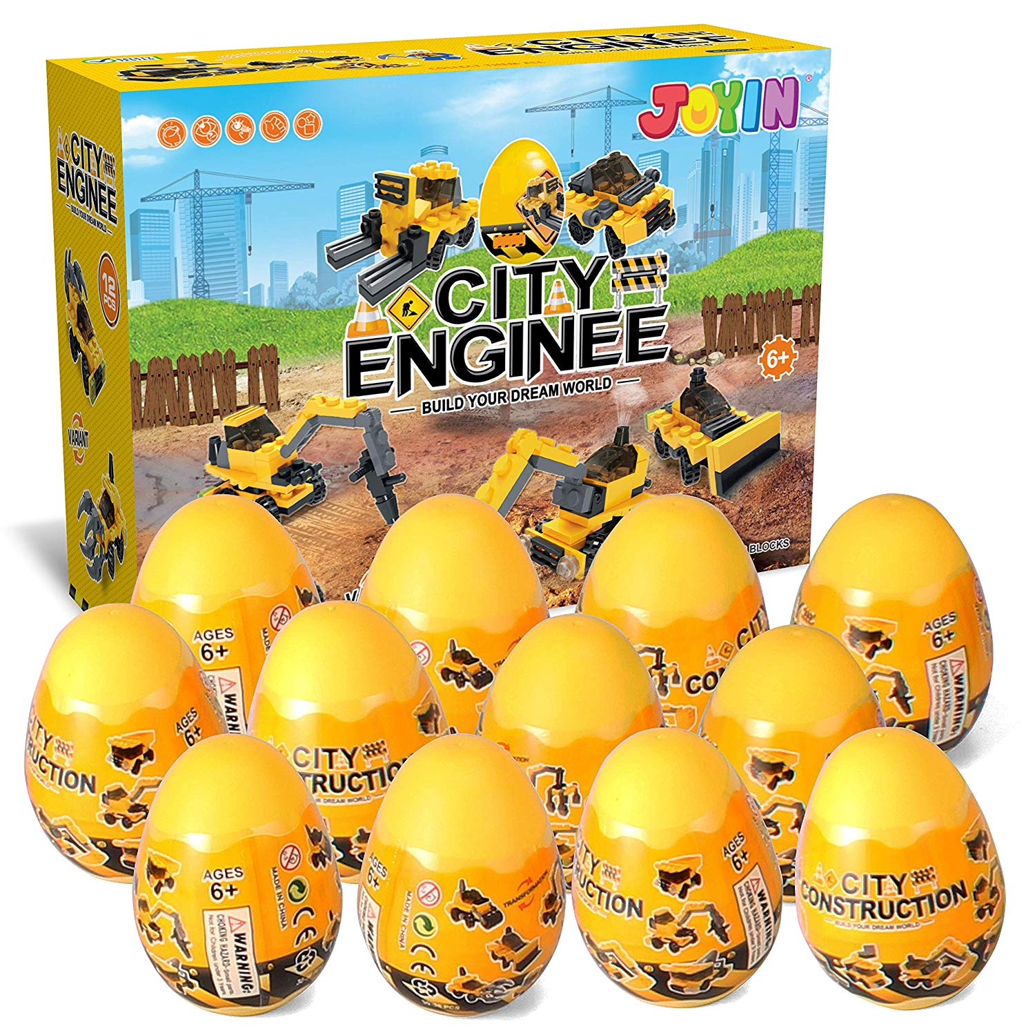 Prefilled Easter Eggs with Construction Vehicles