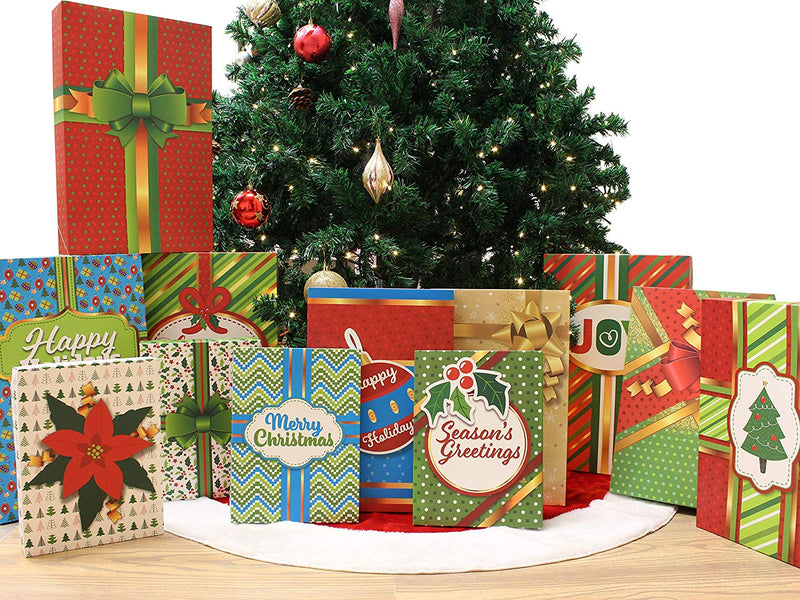 Christmas Holiday Gift Wrap Boxes With Lids, 12 Pcs