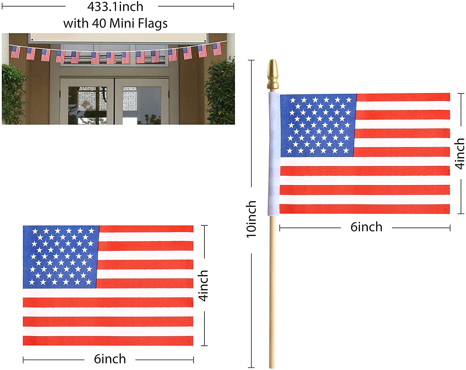 12 Piece, Wooden Stick Handheld American Flag