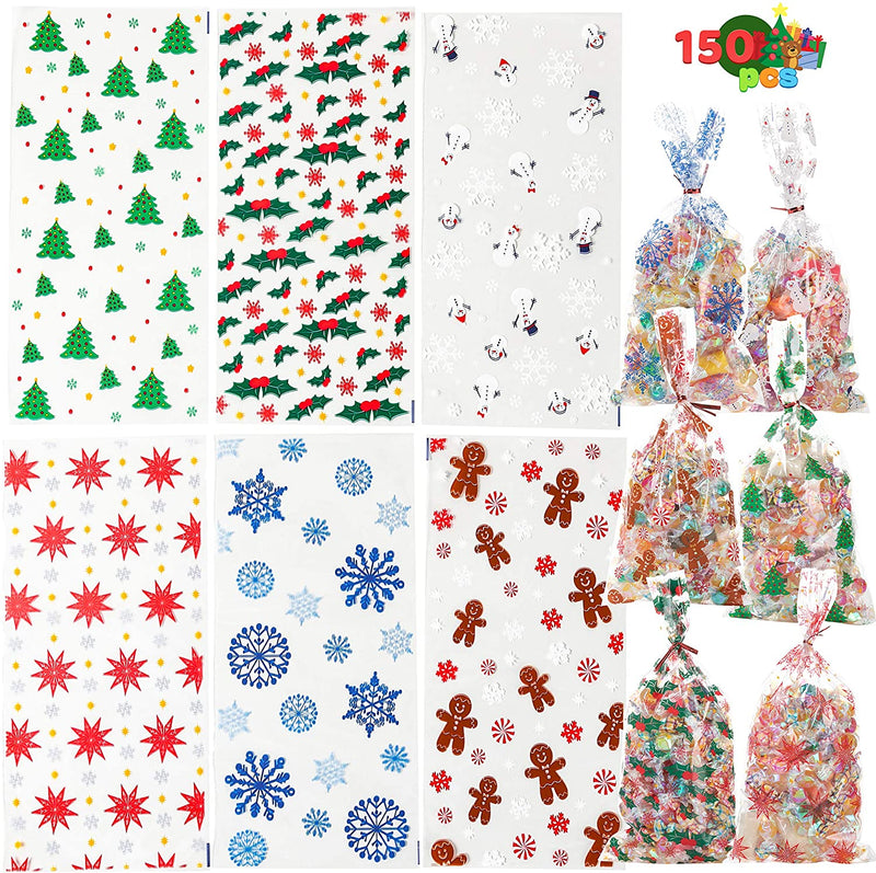 150 PCS Christmas Cellophane with Twist Ties