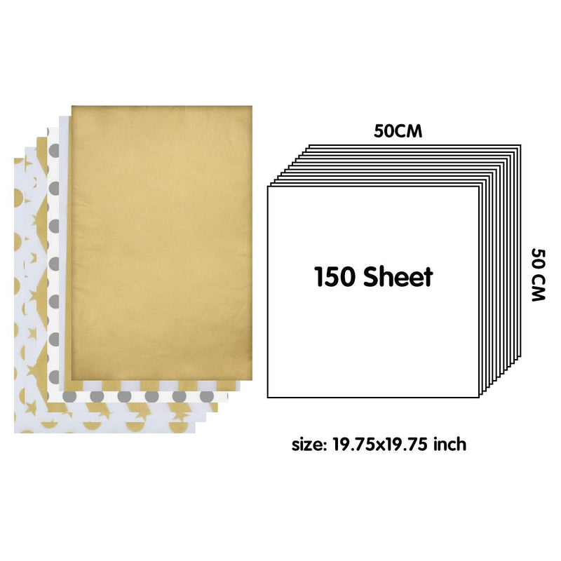 150 Piece Christmas Metallic Silver and Gold Tissue Paper