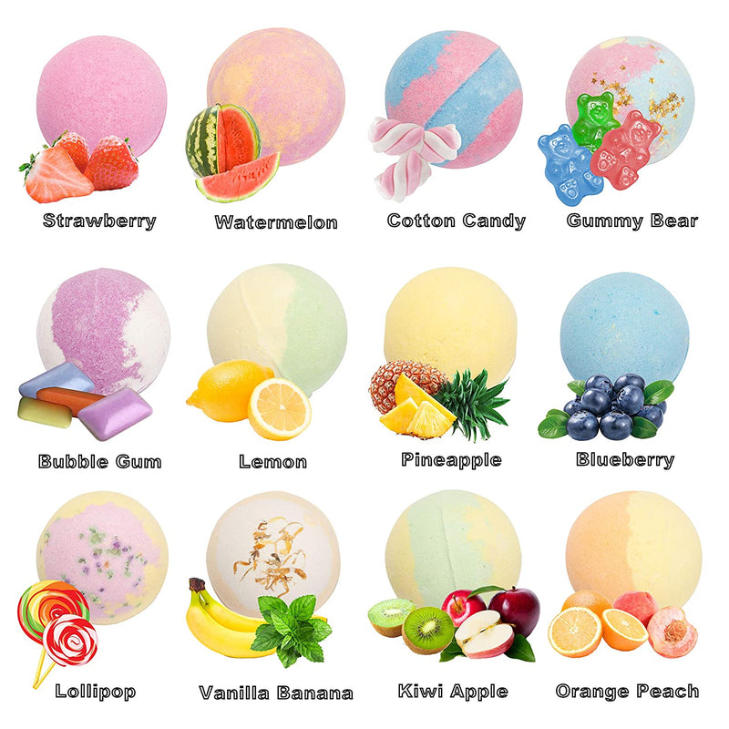 12 Piece, Bath Bombs for Kids with Surprise Toy