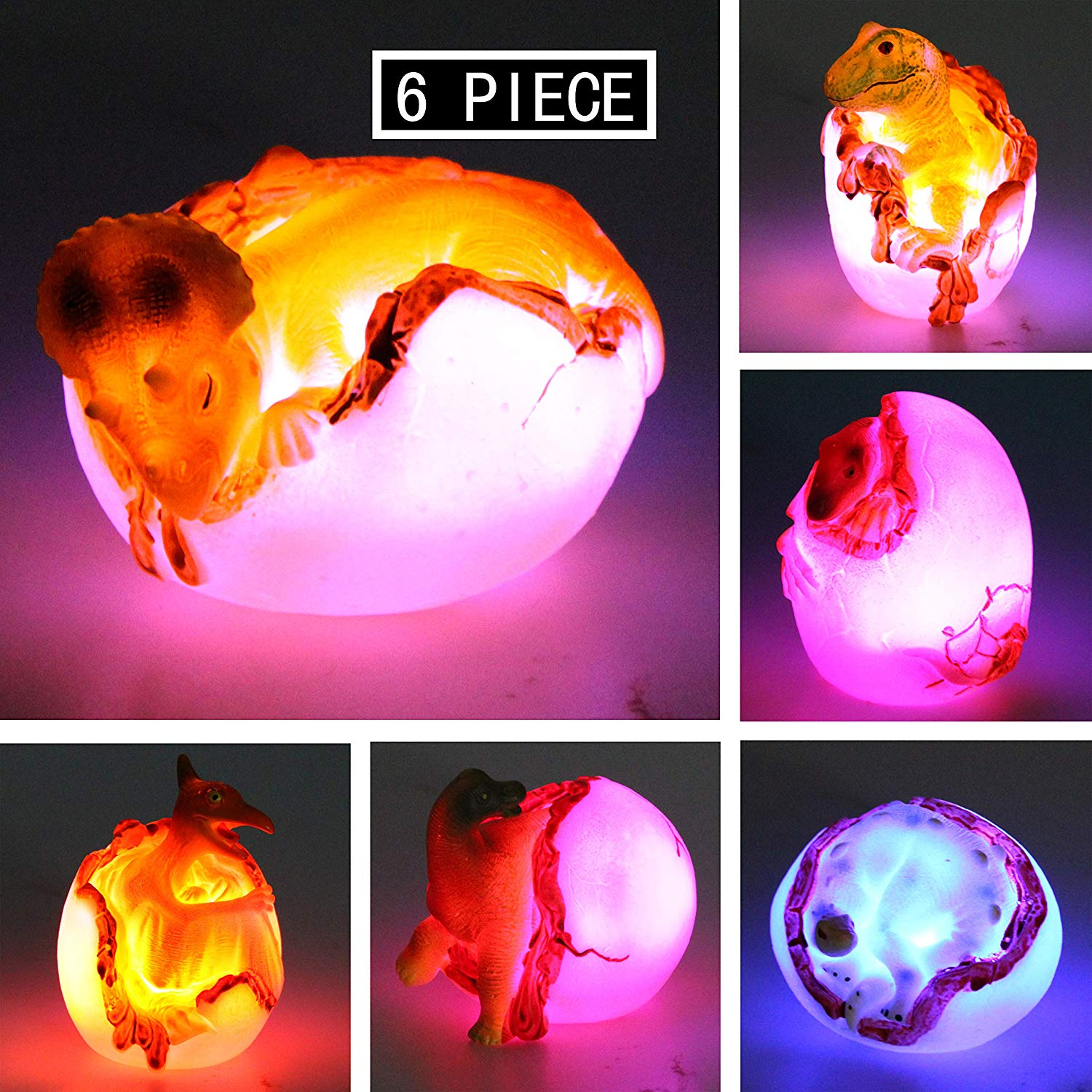 Easter Eggs with Light-up Hatching Dinosaur Bath Toys