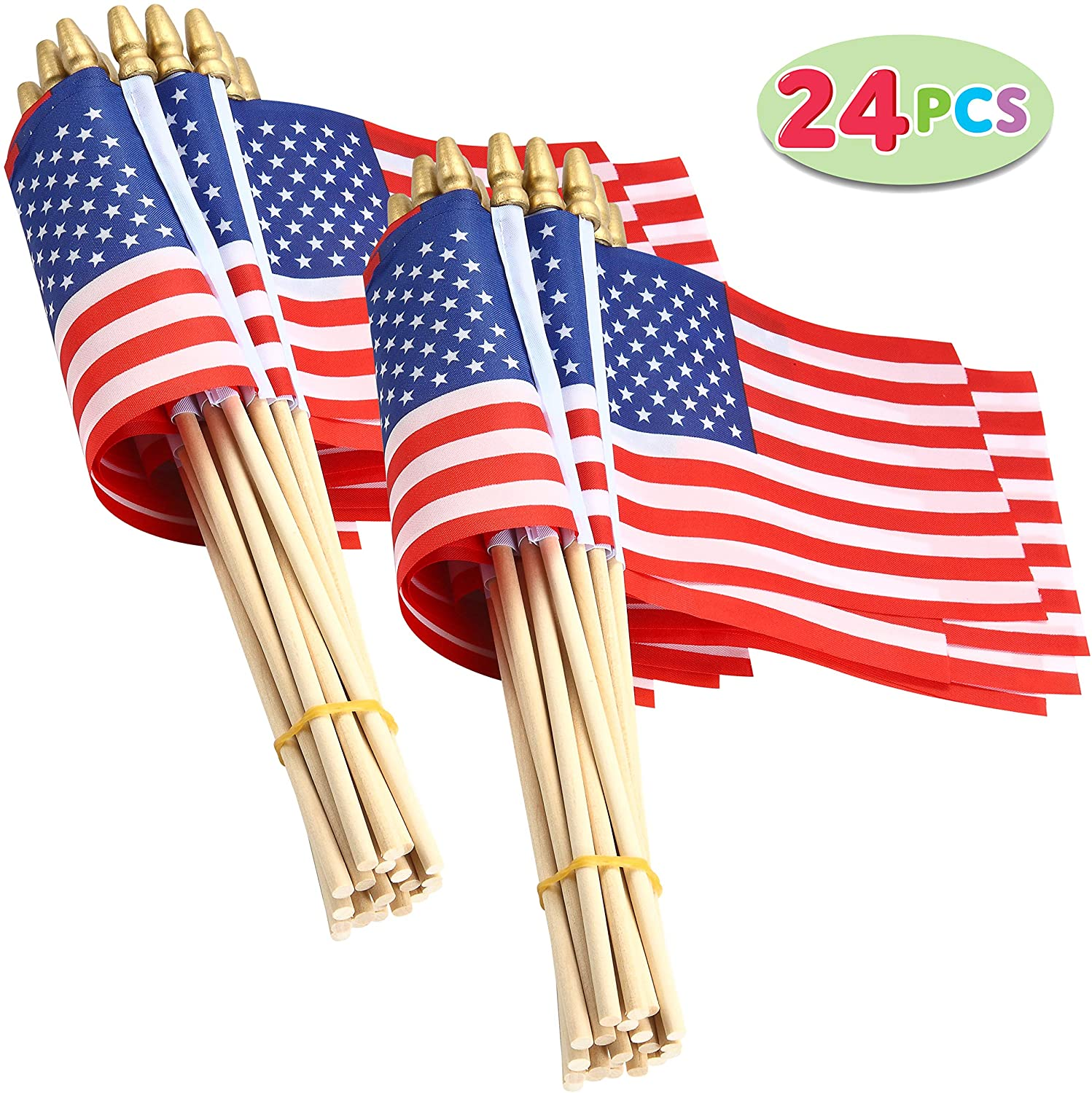 24 Piece, Wooden Stick Handheld American Flag