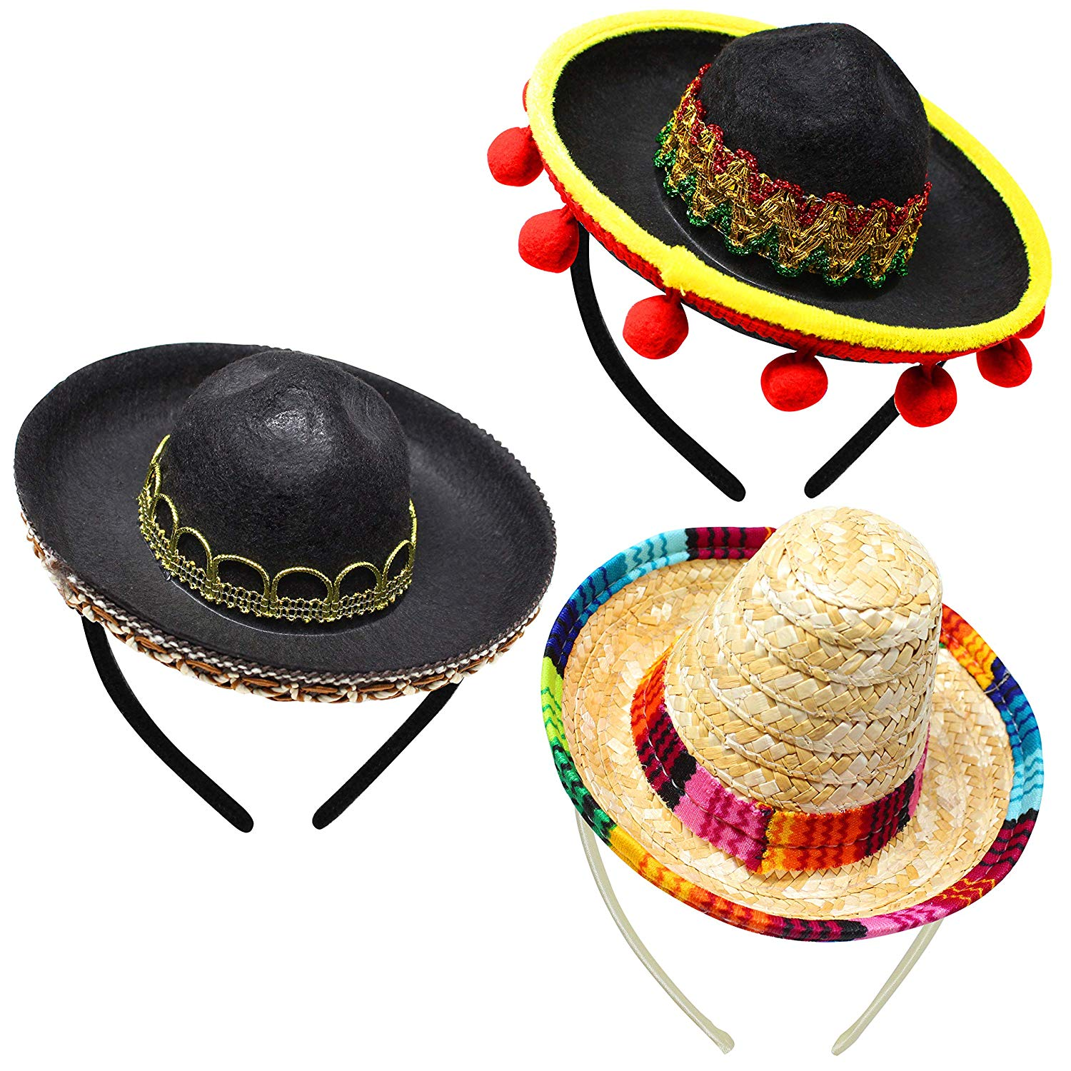 Cinco De Mayo Fiesta Fabric and Straw Sombrero Headbands