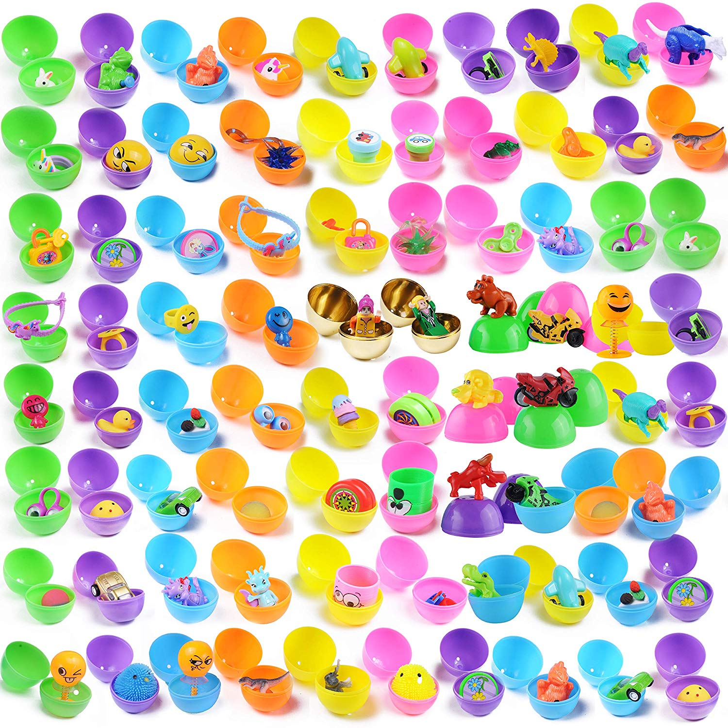 80 Pre Filled Easter Eggs with Novelty Toys with Golden Eggs