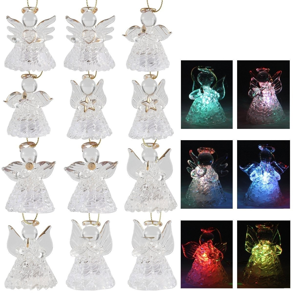 Spun Glass Angel Ornaments with LED Lights, 12-Piece Set