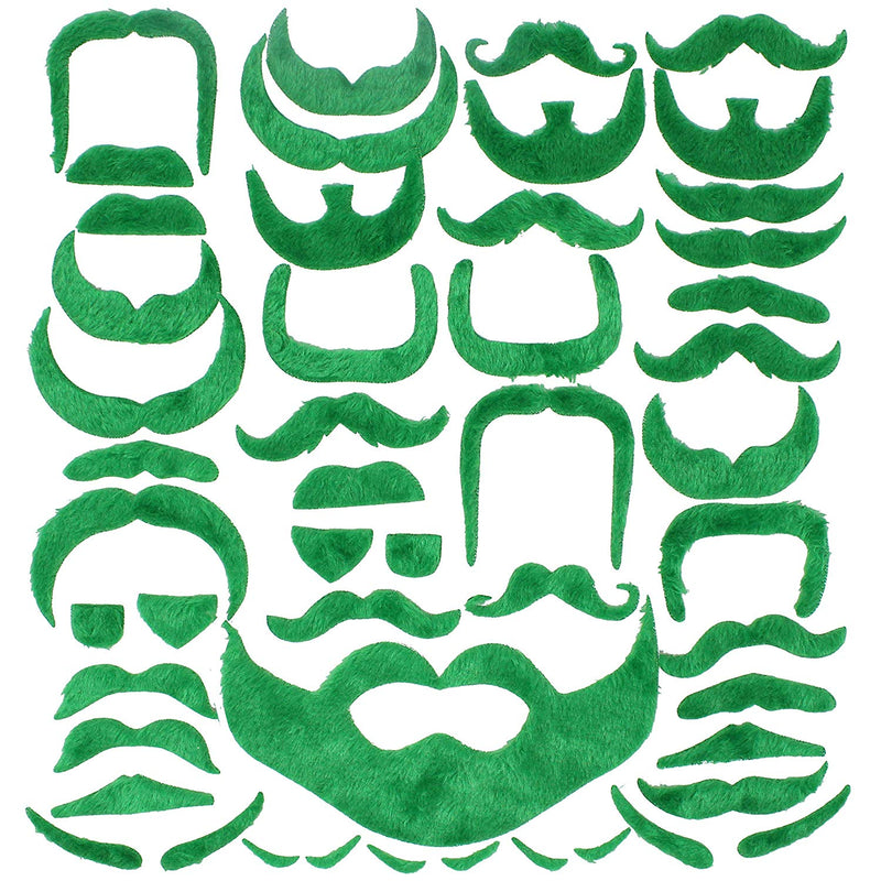 St. Patrick's Day Fake Green and Orange Mustache Beard