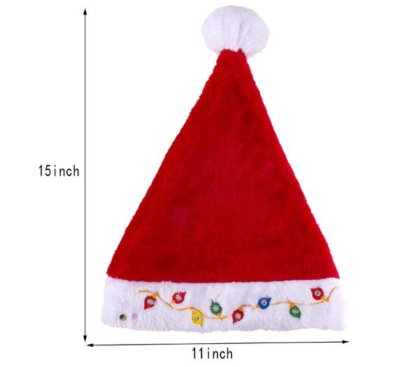 Blinking Light-up Plush Red Santa Hat + Blinking Light-up Elf