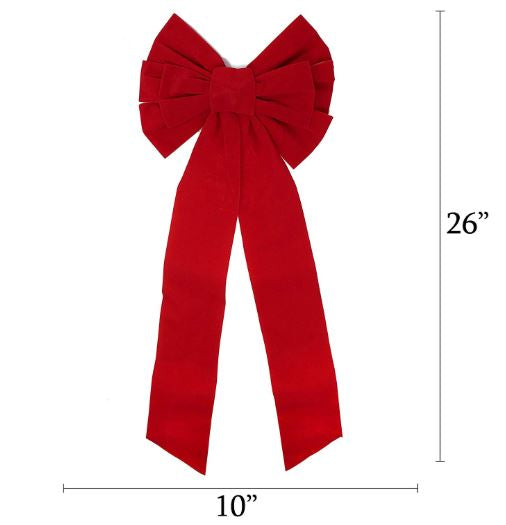 "26"" Pack Red Velvet Bows, 8 Pcs"