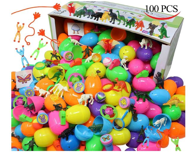 "100 Pieces Toy Filled Hinged 2 3/8"" Plastic Easter Eggs Bright Solid"