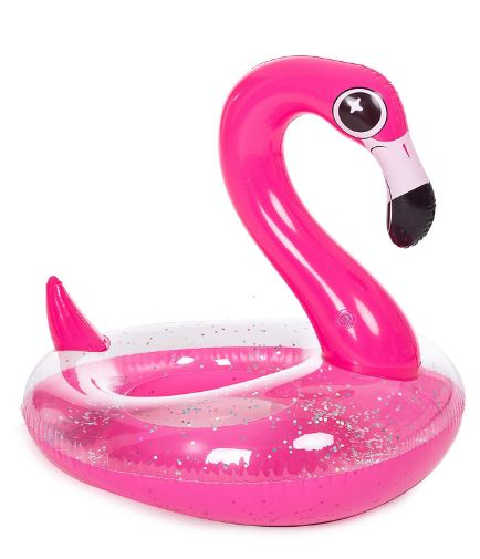 Inflatable Flamingo Pool Float with Glitters