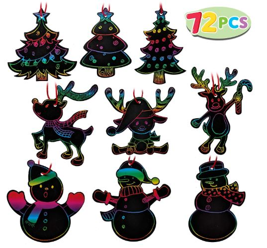 RAINBOW COLOR SCRATCH CHRISTMAS ORNAMENTS