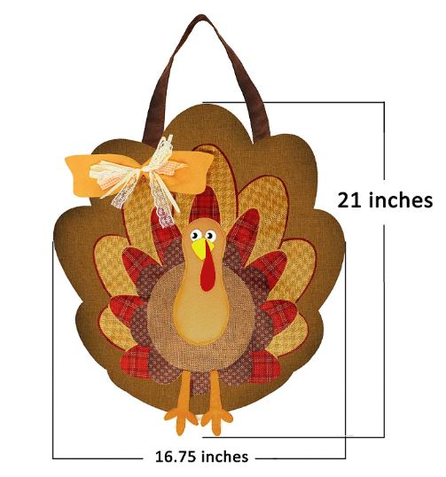 THANKSGIVING TURKEY BURLAP DOOR DECORATIONS
