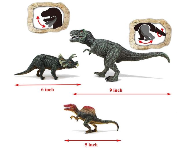 "18 Piece 6"" to 9"" Educational Realistic Dinosaur Figures"
