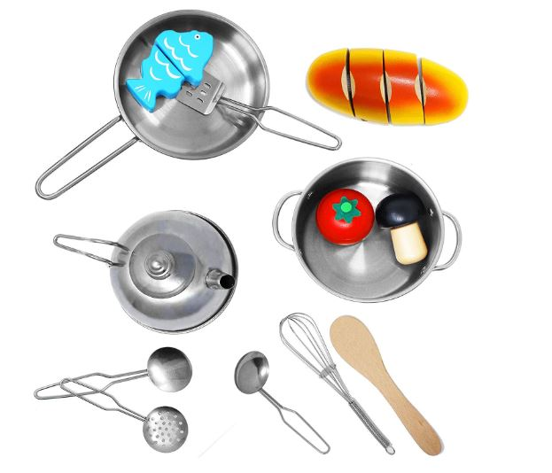 Stainless Steel Pretend Play Kitchen Play Food Pots and Pans and Tea Party Set for Kids-12 pcs