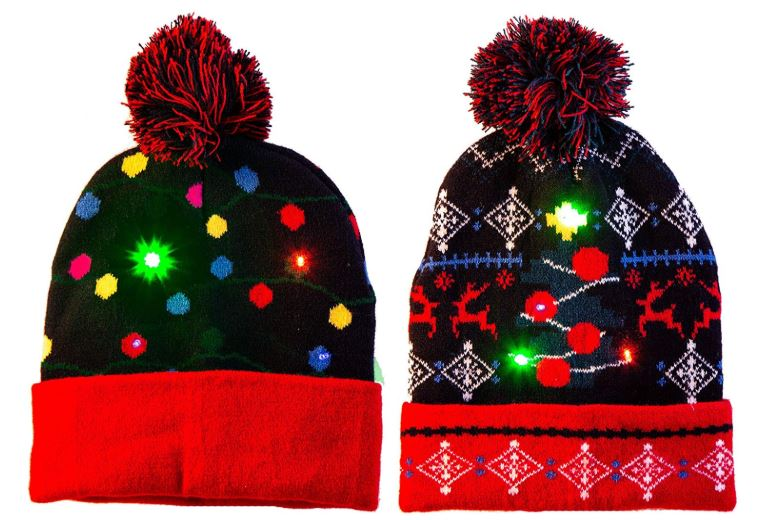 2 Pack LED Light-up Knitted Beanie Ugly Sweater Holiday Christmas Beanie Hat Knit Cap
