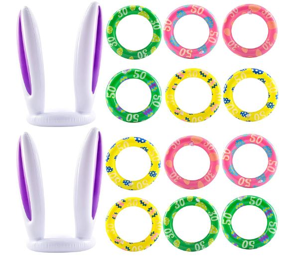 Inflatable Bunny Rabbit Ears Ring Toss Game(2 Set &12 Rings)