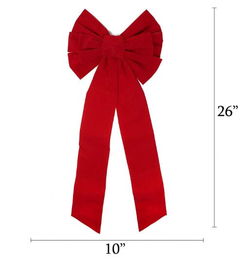 "16"" Pack Red Velvet Bows, 8 Pcs"