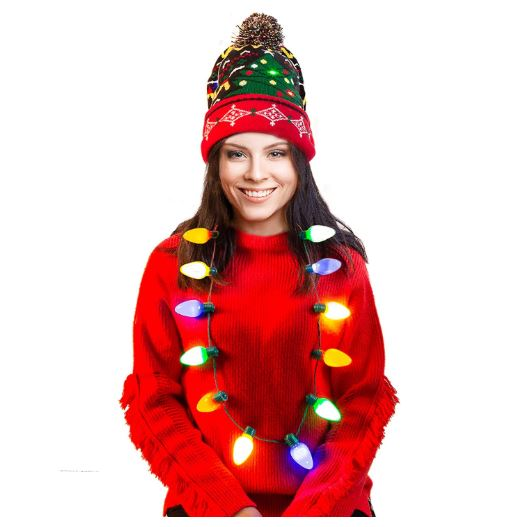 Holiday LED Light-up Bulb Necklace (12 Bulbs) with LED Light-up Knitted Ugly Sweater Holiday Beanie
