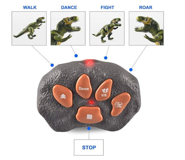 Light Up Remote Control Dinosaur Walking and Roaring Realistic T-Rex Dinosaur Toys