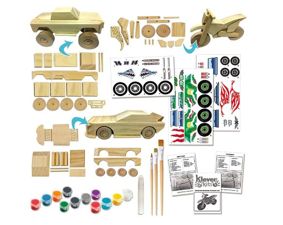 Klever Kits Kids Craft Kit Build & Paint Your Own Wooden Race Car Art & Craft Kit DIY Toy