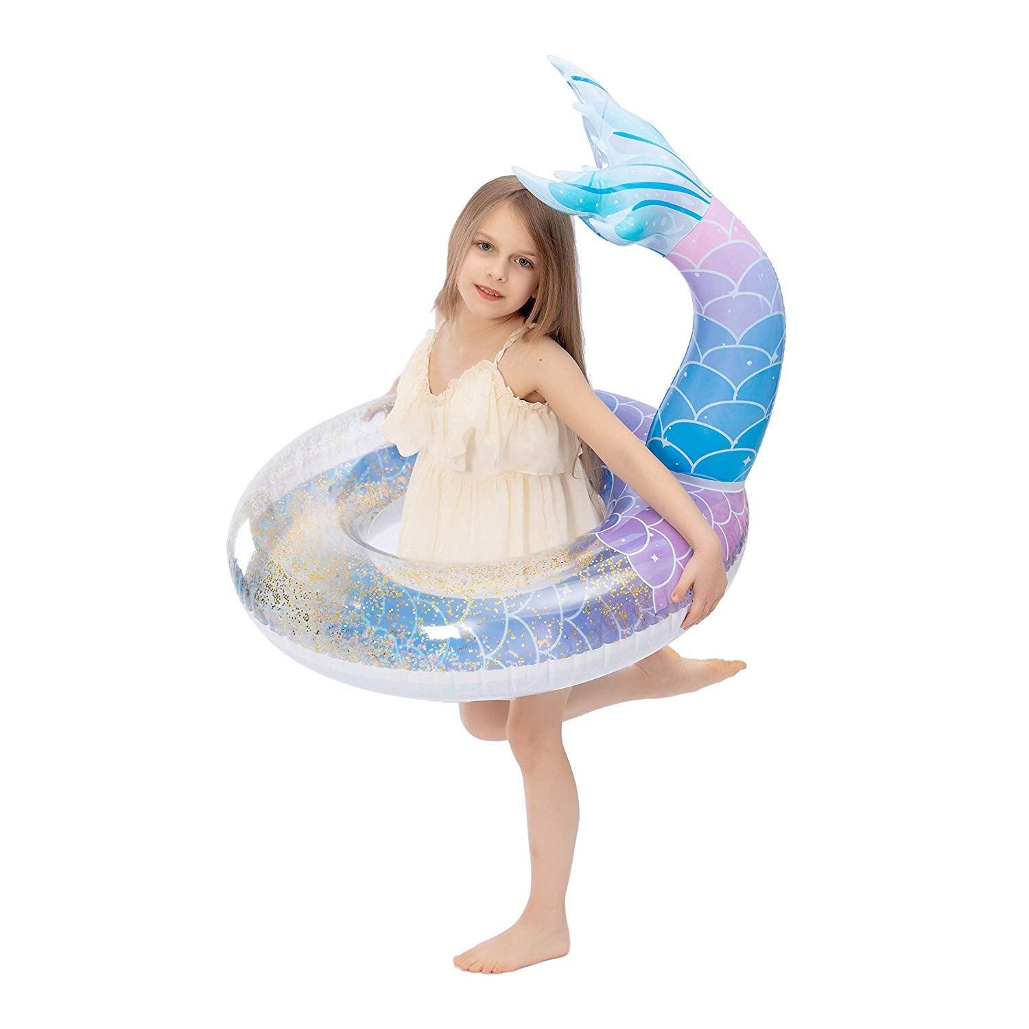 Inflatable Mermaid Tail Pool Float with Glitters, 2 Piece
