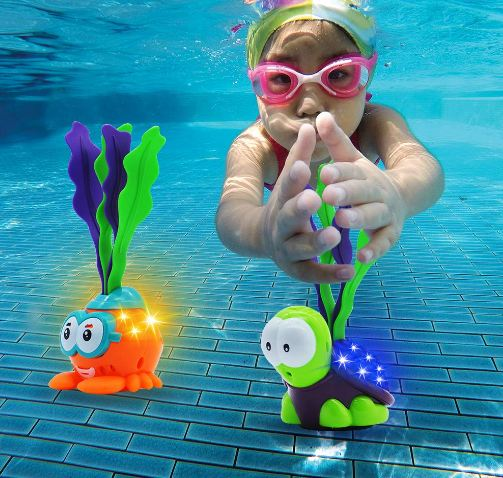 Light-up Diving Pool Toys Set Includes 3 Diving Toy Animals