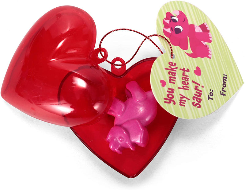 28  Pcs Packs Valentines Day Prefilled Hearts with Dinosaur Crayons